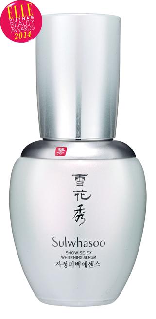 <strong>1. Snowise EX Whitening Serum - SULWHASOO</strong> <br /> Sulwhasoo Snowise EX Whitening Serum làm giảm các sắc tố vàng và đỏ, phục hồi làn da trắng sáng tự nhiên và bảo vệ da chống lại tình trạng sạm màu gây ra bởi căng thẳng tinh thần và tia hồng ngoại. Snowise Tri-white Complex™ là công thức độc đáo đặc biệt có trong Snowise EX Whitening Serum. Công thức 3 tác động với nguồn gốc thảo mộc truyền thống Hàn Quốc giúp trẻ hóa tông màu da tận sâu bên trong, đồng thời ngăn chặn và loại bỏ sự hình thành các hắc tố bên ngoài.