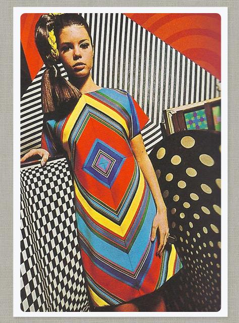 Mẫu thiết kế trong những năm 1960 của Deanna Littel cũng được khắc họa với bối cảnh là những hình ảnh op art