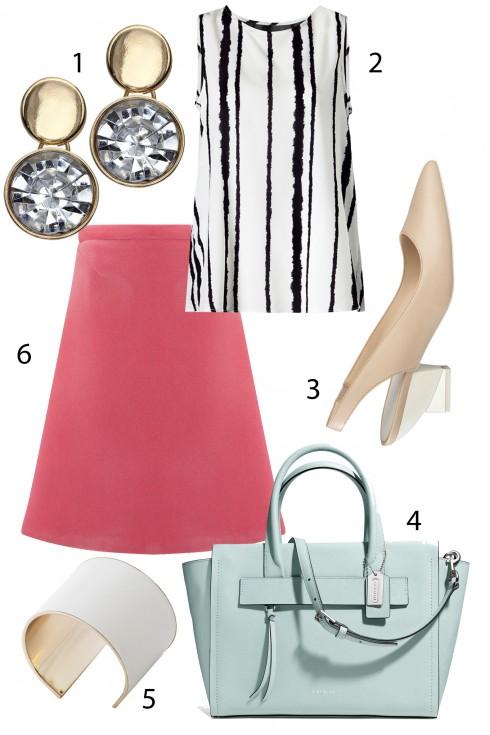Thứ 3: Ngọt ngào với chân váy tông màu hồng và túi xách màu bạc hà<br/>1. ACCESSORIZE 2. MANGO 3. CHARLES &amp; KEITH 4. COACH 5. MANGO 6. TOPSHOP