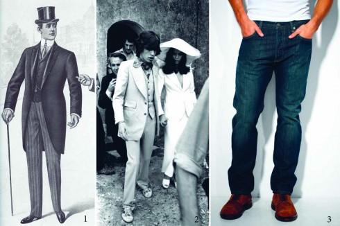 1.Kiểu quần Âu cổ điển của thập niên 20's 2.Mick Jagger cũng góp phần lăng xê mốt quần ống thẳng 3.Jeans Levi's trở thành một biểu tượng của thời trang nam giới toàn cầu