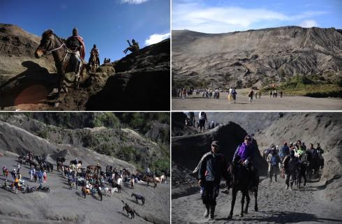 Đa phần du khách khi đến chân núi Bromo thường chọn giải pháp thuê ngựa vượt qua biển cát đen với giá đi và về 15 đôla Mỹ.