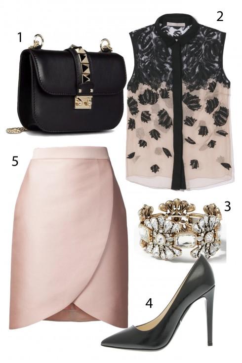 Thứ 2: Sang trọng nơi công sở với áo voan và chân váy lụa hồng.<br/>1. VALENTINO 2. JASON WU 3. BANANA REPUBLIC 4. GIORGIO ARMANI 5. STELLA MC CARTNEY