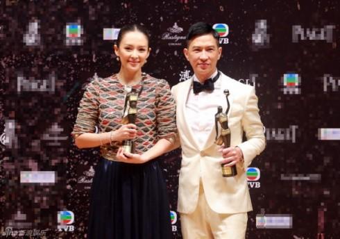 Ảnh hậu Chương Tử Di và Ảnh đế Trương Gia Huy tại lễ trao giải Kim Tượng