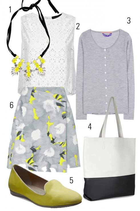 Thứ 5: Điểm nhấn cho trang phục bằng đôi giày màu vàng chanh ton sur ton với họa tiết chân váy<br />1. COAST  2.TOPSHOP 3.DEAR CASHMERE 4.ECCO 5.ECCO 6. ASOS