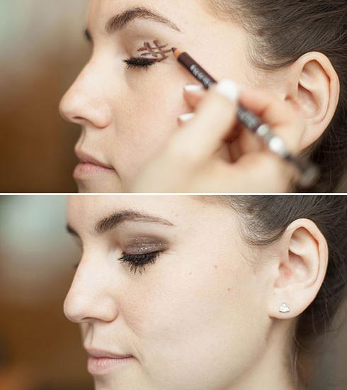 3. Đánh mắt khói trong 5 giây   Dùng bút chì màu nâu hoặc xám, đen, xanh đậm,.. Vẽ hình dấu # ở đuôi mắt rồi dùng cọ tán chúng thật đều.