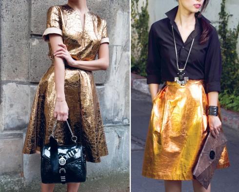 Hà Mi - Giám đốc marketing của ELLE chọn váy metallic cho công sở