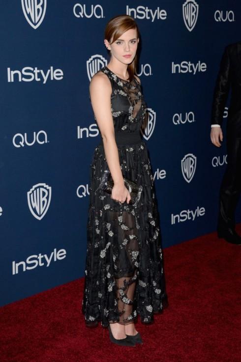 Emma Watson mặc đầm Theyskens' Theory trong bữa tiệc hậu Quả cầu vàng.