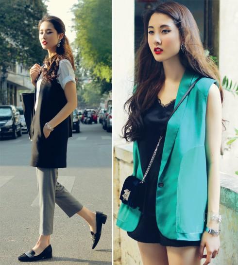 Ảnh trái: Áo vest Rue De Chats, Sơmi và quần Âu Ren - Ảnh phải: Áo vest It's Happened To Be A Closet, Ví Zara, Vòng tay Floralpunk