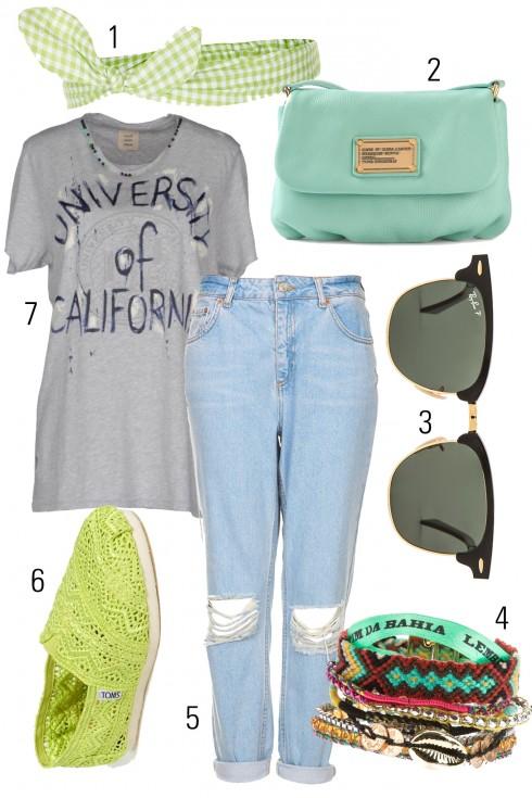 Thứ 7: Năng động với quần jeans và áo thun.<br />1. TOPSHOP 2. MARC BY MARC JACOBS 3. RAYBAN 4. HIPANEMA 5. TOPSHOP 6. TOM'S 7. COAST