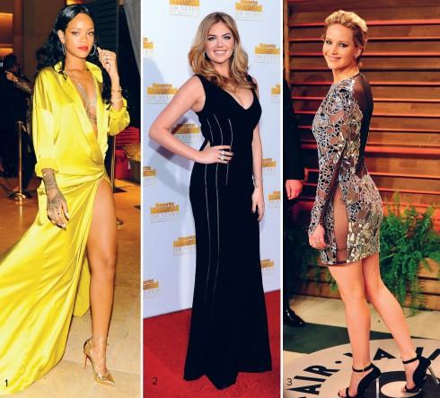 1.Rihanna chọn chiếc đầm lụa rất táo bạo của Alexandre Vauthier 2.Kate Upton luôn tự tin khoe vòng 1 với những chiếc áo xẻ ngực sâu 3.Jennifer Lawrence với bộ đầm mini Tom Ford