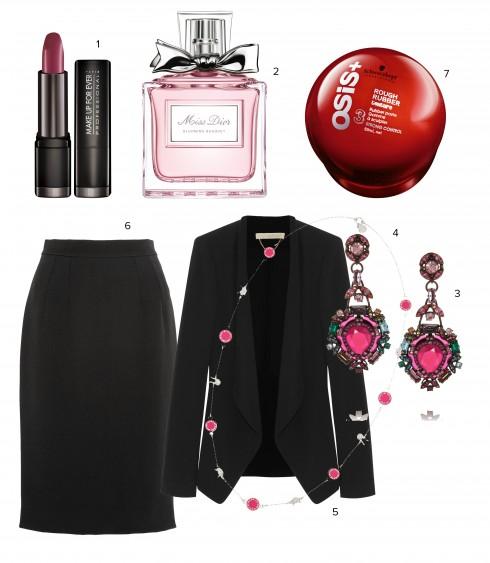 1.Son Rouge Artist Make Up For Ever 2.Nước hoa Miss Dior Blooming Bouquet Dior 3.Hoa tai Lanvin 4.Dây chuyền Marc By Marc Jacobs 5.Áo khoác Vanessa Bruno 6.Váy bút chì Dolce&Gabbana 7.Sáp tạo kiểu tóc Schwarzkopp