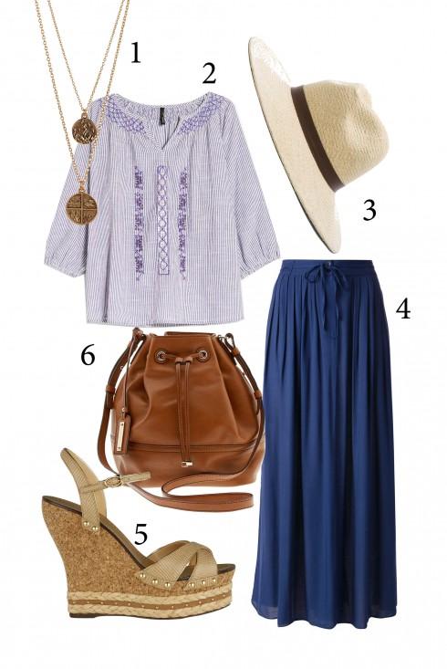 Thứ 3: Nhẹ nhàng với chân váy maxi và áo thêu <br /> 1. ASOS 2. MANGO 3. JANESSA LEONE 4. FARFETCH 5. CHARLES &amp; KEITH 6. BANANA REPUBLIC