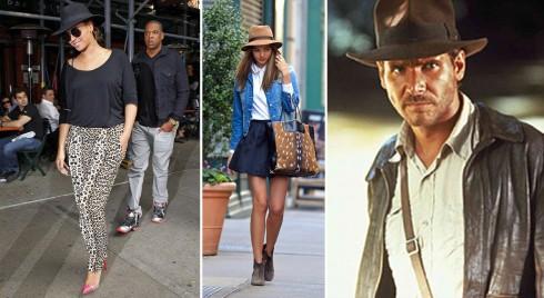 Từ trái qua: Beyoncé, Miranda Kerr, Cảnh trong phim Indiana Jones