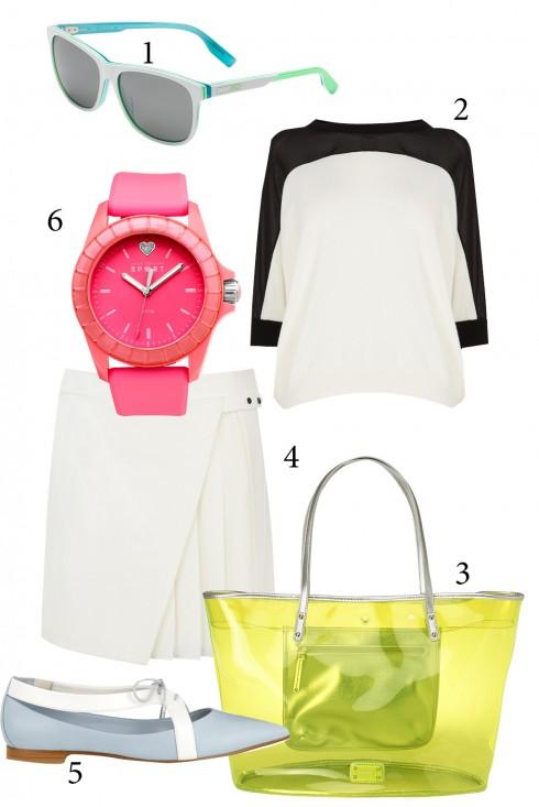 Thứ 4: Thử mặc cả bộ trang phục trắng, điểm nhấn sẽ là những món phụ kiện nhiều màu sắc.<br />1. NIKE 2. KAREN MILLEN 3. NINE WEST 4. WAREHOUSE 5. CHARLES &amp; KEITH 6. JUICE COUTURE