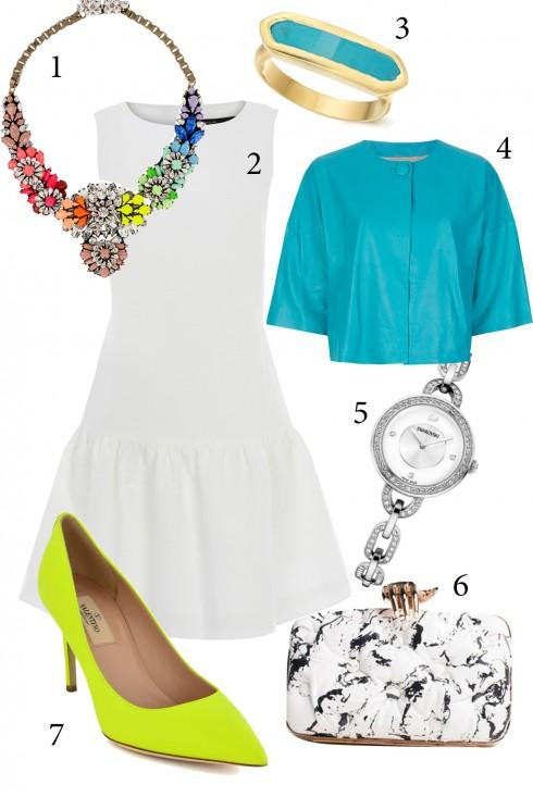 Thứ 5: Dạo phố ban ngày với chiếc váy trắng đơn giản. Bạn có thể thêm vào một chiếc vòng cổ bản to để thêm phần nổi bật cho những bữa tiệc buổi tối.<br />1. SHOUROUK 2. KAREN MILLEN 3. MONICA VANIDER 4. BLANCHA 5. SWAROVSKI 6. BENEDETTA BRUZZICHES 7. VALENTINO