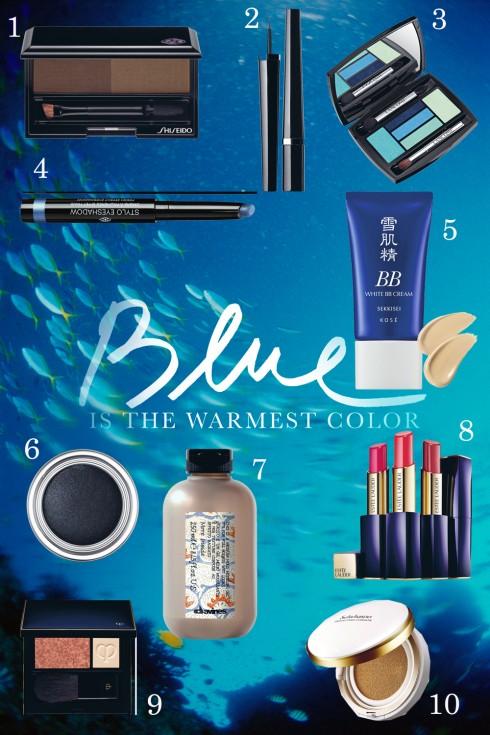 Mắt màu xanh đại dương, lớp nền mỏng tang và lung linh, những lọn tóc ướt đẫm cùng đôi môi chỉ màu cát nóng, đó là chân dung cô gái của biển. <br /> <br /> 1. Bộ phấn lông mày Shiseido <br /> 2. Kẻ mắt nước Chanel 884.000 VNĐ <br /> 3. Phấn mắt xanh Lancôme <br /> 4. Sáp màu mắt dạng vặn Chanel 969.000 VNĐ <br /> 5. Kem BB làm sáng da Kosé 950.000 VNĐ <br /> 6. Phấn mắt dạng lì Nocturne Dior <br /> 7. Gel giữ nếp tạo tóc ướt Davins 334.000 VNĐ <br /> 8. Son môi giàu ẩm Envy Shine Esteé Lauder<br /> 9. Má hồng nâu da Clé De Peau Beaute <br /> 10. Kem nền dạng BB Cushion Sulwhasoo 1.200.000 VNĐ