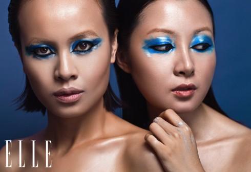 Viền mắt nước gợi nhớ đến nàng Cleopatra nhưng được làm mới hơn bằng cách kết hợp với màu mắt xanh và xám lạnh được tán