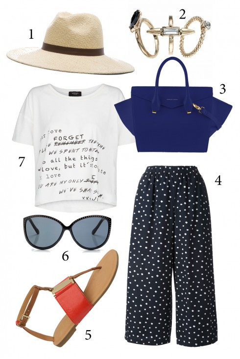 Thứ 6: Kết hợp quần ống rộng với áo crop top thật thoải mái<br />1. JANESSA LEONE 2. ACCESSORIZE 3. CHARLES &amp; KEITH 4. COMME DES GARCONS 5. NINE WEST 6. MANGO 7. MANGO