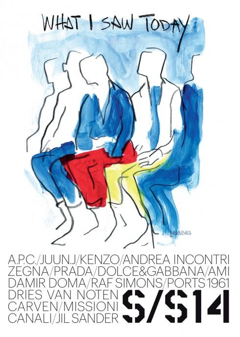 Tác phẩm ký họa của Richard Haines cho Tuần lễ Thời trang nam giới Xuân - Hè 2014 tại Paris