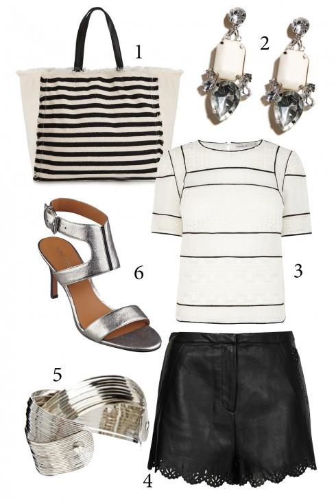Thứ 3: Hãy thử đổi mới bộ trang phục với 2 màu trắng đen và ánh kim thanh lịch <br />1.MANGO 2. WAREHOUSE 3. KAREN MILLEN 4. TOPSHOP 5. ASOS 6. NINE WEST
