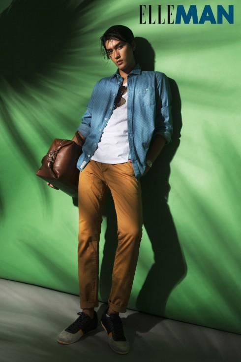 Quần chino màu<br/>Áo T-Shirt United Colors Of Benetton, Áo sơmi H.E By Mango, Quần Topman, Túi Desino, Giày Lacoste