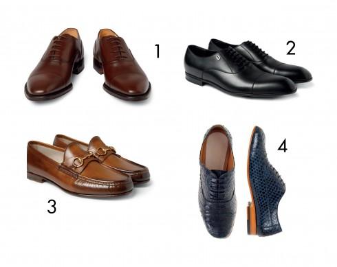 1. Giày Oxford da bê màu nâu bóng 2. Giày Oxford cột dây của Gucci 3. Giày Loafer Gucci 4. Giày Oxford da rắn của Maison Martin Margiela