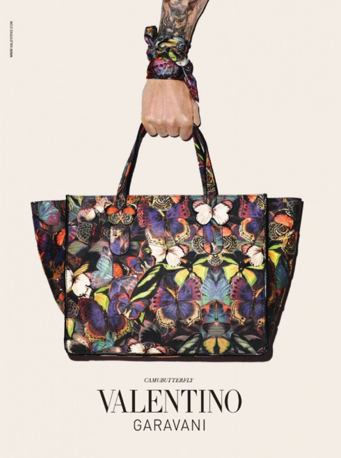 Despite the recent controversy surrounding Terry Richardson, the American photographer is back for Valentino's fall-winter 2014 accessories campaign spotlighting its Camubutterfly range