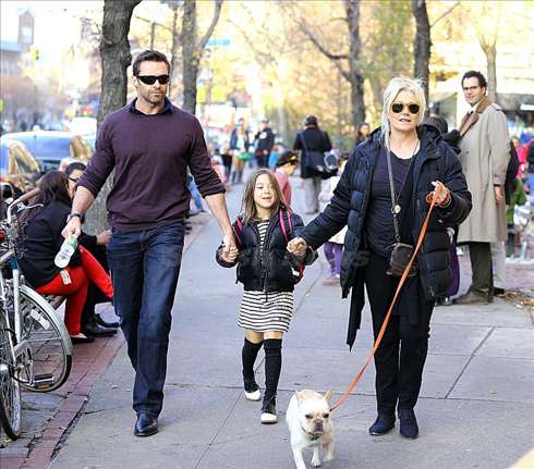 Hugh Jackman<br/>Hugh Jackman and wife Deborra-Lee Furness picked up their daughter Ava from school with their dog Peaches in New York City. <P> Pictured:  Hugh Jackman, Deborra-Lee Furness and Ava Eliot Jackman <P> <B>Ref: SPL466542  041212  </B><BR /> Picture by: Sharpshooter Images / Splash<BR /> </P><P> <B>Splash News and Pictures</B><BR /> Los Angeles:310-821-2666<BR /> New York:212-619-2666<BR /> London:870-934-2666<BR /> photodesk@splashnews.com<BR /> </P>
