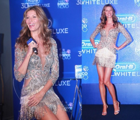 2013: Dù xuất hiện ở đâu, Gisele vẫn luôn trẻ trung và lộng lẫy. Cô mặc chiếc đầm cocktail tua rua lấp lánh của nhà thiết kế Braxin Patricia Bonaldi, mang giày sandal cùng tông Alexandre Birman.