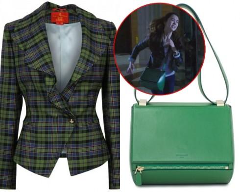Một cảnh quay trong đêm tối, kiều nữ mặc áo khoác kẻ caro Vivienne Westwood giá trên 24 triệu đồng, túi hộp Givenchy khoảng 46 triệu đồng.