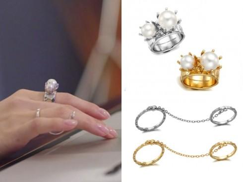Hai loại nhẫn hiệu Vintage Hollywood được người đẹp đeo, tổng giá trị khoảng 1,8 triệu.