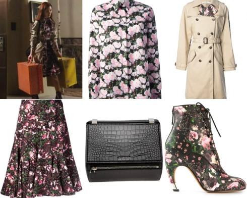 Một cảnh quay, nữ diễn viên mặc váy, sơ mi, áo khoác, túi xách và giày đều của Givenchy.