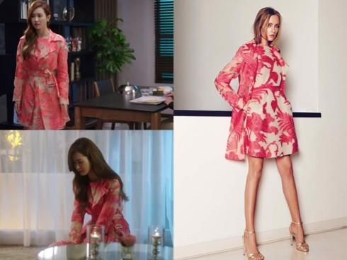 Lee Da Hae trong thiết kế Blumarine xuân hè, họa tiết hoa lá cách điệu tươi tắn.