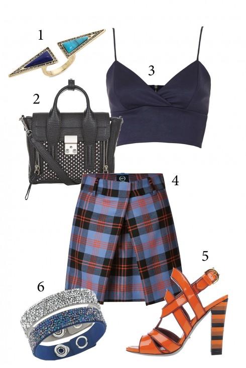 Thứ 3: Chân váy ngắn kết hợp cùng áo crop đầy cá tính. <br />  1. HOUSE OF HARLOW 1960 2. 3.1 PHILLIP LIM 3. TOPSHOP 4. ALEXANDER MCQUEEN 5. SERGIO ROSSI 6. SWAROVSKI