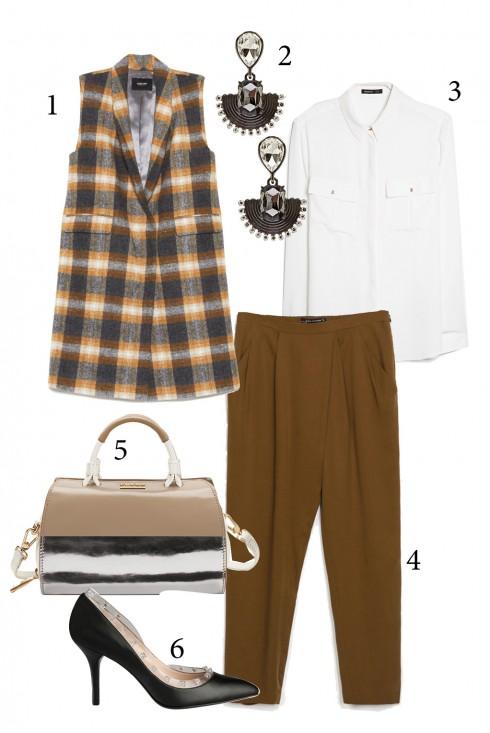 Thứ 5: Thanh lịch với áo sơ mi trắng và áo vest không tay <br /> 1. RACHEL COMEY 2. COAST 3. MANGO 4. ZARA 5. FURLA 6. CHARLES &amp; KEITH