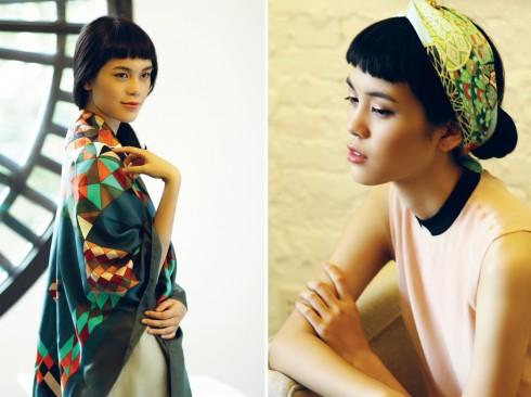 Trái: Khăn lụa Hermès, Đầm lụa Truly Lam (Lam Boutique) Phải:Khăn Hermès, Đầm Rue Des Chats