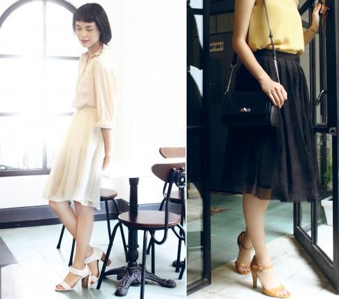 Trái: Áo sơmi, chân váy Truly Lam (Lam Boutique), Giày Ecco Phải: Chân váy Lam Boutique, Giày, túi Ecco