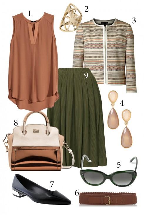 thứ 5: Phong cách vintage nhẹ nhàng với chân váy xếp li<br />1. H&amp;M 2. ACCESSORIZE 3.MANGO 4. BANANA REPUBLIC 5. COACH 6. WAREHOUSE 7. CHARLES &amp; KEITH 8. FURLA