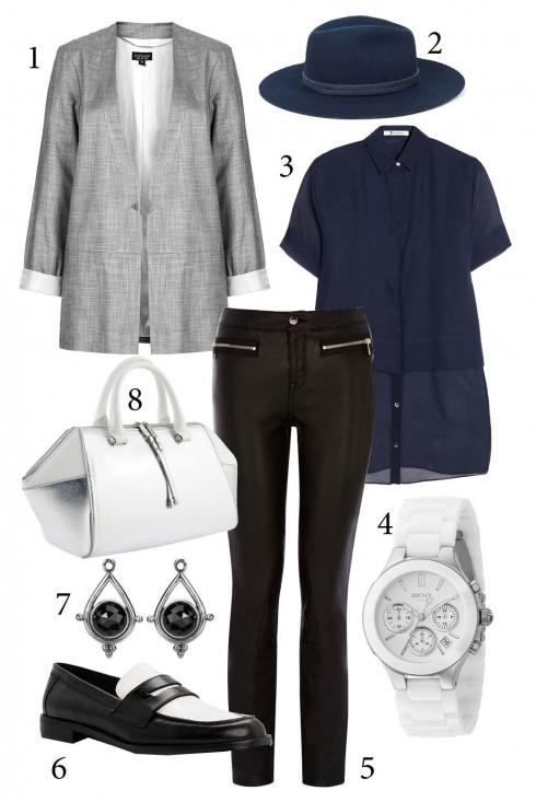thứ 6: Năng động và cá tính khi kết hợp áo voan dáng dài với quần skinny và áo khoác blazer<br />1. TOPSHOP 2.  PULL&amp; BEAR 3. T BY ALEXANDER ƯANG 4. DKNY 5. KAREN MILLEN 6. CHARLES KEITH 7. PANDORA 8. PEDRO