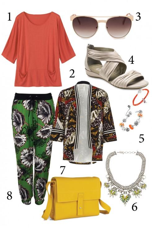 Thứ 7: Hãy lựa chọn giày và túi màu trơn khi bạn kết hợp quần và áo họa tiết cho dịp cuối tuần.<br/>1. TOAST 2. RIVER ISLAND 3. MANGO 4. ECCO 5. PANDORA 6. BANANA REPUBLIC 7. ECCO 8. TOPSHOP