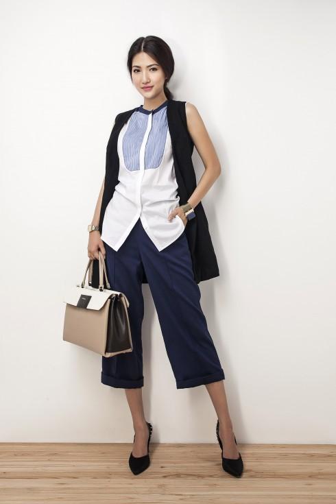 Áo sơmi Karen Millen, Quần vải The Blue Tshirt, Áo vest Rue Des Chats, Túi xách Furla, Giày Dune, Vòng tay Furla
