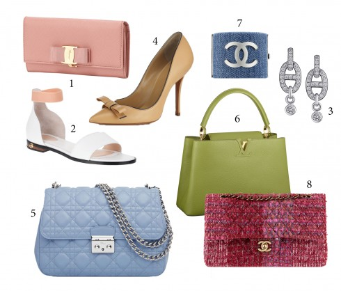 1. Salvatore Ferragamo 2. Chloé 3. Hermés 4. Bally 5. Dior 6. Louis Vuitton 7&8. Chanel