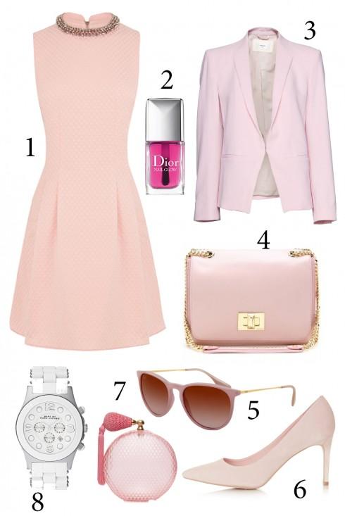 Thứ 2: Nhẹ nhàng ngày đầu tuần với tông màu hồng<br/>1. Oasis 2. Dior 3.Mango 4.Emilio Pucci 5. Rayban 6. Topshop 7. Lanvin 8.Marc by Marc Jacob