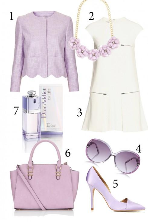 Thứ 4: Lãng mạn và dịu dàng với màu tím<br/>1. Top shop 2. Accessorize 3. Stella McCartney 4. Oasis 5. Top shop 6. Accessorize 7. Dior