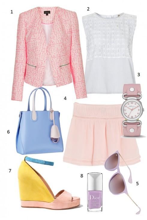 Thứ 6: Trẻ trung với chân váy ngắn cùng sắc màu tươi sáng<br/>1. Top shop 2. Topshop 3. Marc by Marc Jacob 4. Mango 5. Rayban 6. Dior 7. See by Chloe 8. Dior