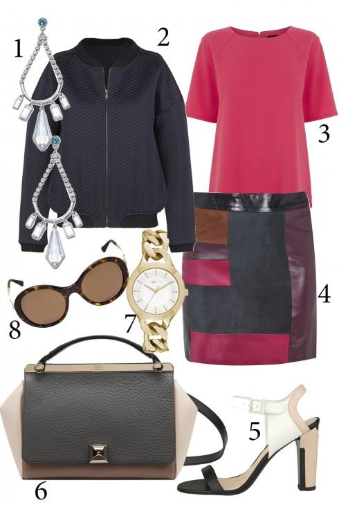 Thứ 2: Cá  tính với chân váy da pha trộn những màu sắc nổi bật <br/>1. SWAROVSKI 2. ERMIONE 3. WAREHOUSE 4. TOPSHOP 5. CHARLES & KEITH 6. FURLA 7. DKNY 8. GIORGIO ARMANI