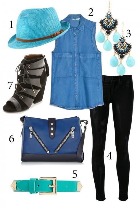 Thứ 5: Cân bằng chiếc quần skinny đen với áo denim màu xanh hiện đại. Hai chất liệu denim và da khi kết hợp với nhau luôn mang đến phong cách hơi bụi bặm nhưng vẫn thời trang.<br/>1. MICHAEL STARS 2. MANGO 3. MIGUEL ASES 4. RAG &amp; BONE 5. VALENTINO 6. KENZO 7. TWELFTHTWELFTH ST BY CYNTHIA