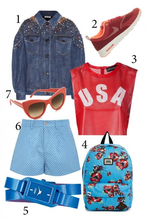 Thứ 7: Thể hiện cá tính và sức sống của tuổi trẻ theo phong cách thể thao với áo da crop top và quần shorts cùng balô.<br/>1. MIUMIU 2. NIKE 3. LOVE LEATHER 4. VANS BLUE 5.VERSUS 6. SUGARHILL 7. STELLA MC CARTNEY