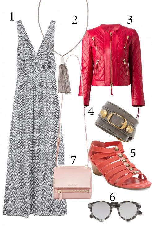 Chủ nhật: Chiếc áo khoác da là món đồ không thể thiếu của phong cách boho để kết hợp cùng chiếc đầm maxi và sandal dây.<br/>1. TART 2. COAST 3. MOSCHINO 4. BALENCIAGA 5. BELLA VITA 6. ILLESTEVA 7. GIVENCHY
