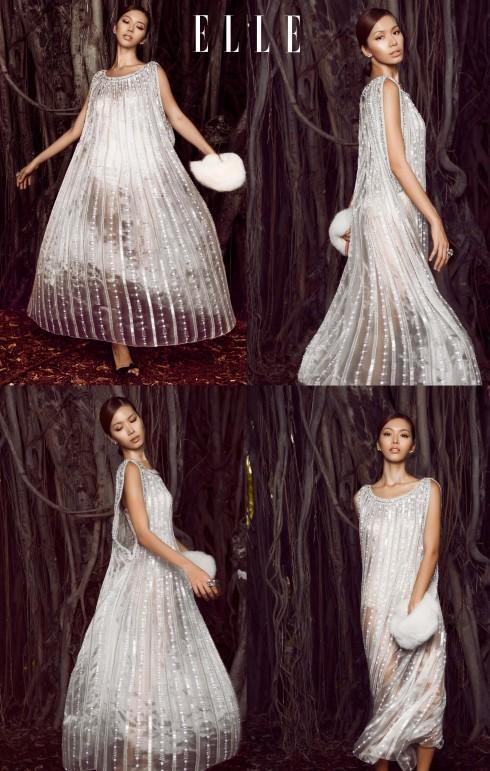 Đầm Nguyễn Công Trí, Khăn lông đeo tay BCBG, Phụ kiện của stylist